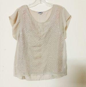 Express *rare* metallic chiffon top blouse shirt M